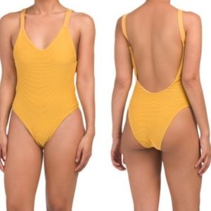Vitamin A Louise ribbed one piece swimsuit yellow